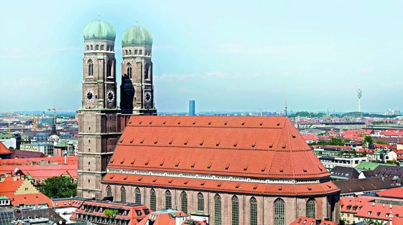 An arial view of Marienplatz (The New Town Hall) and its surroundings