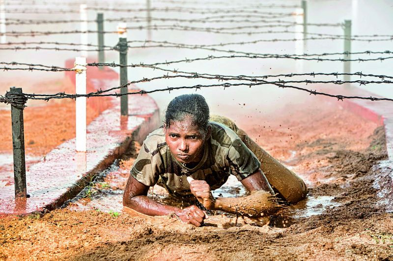 A CISF jawan undergoing a rigorous training at RTC, Arrakonam
