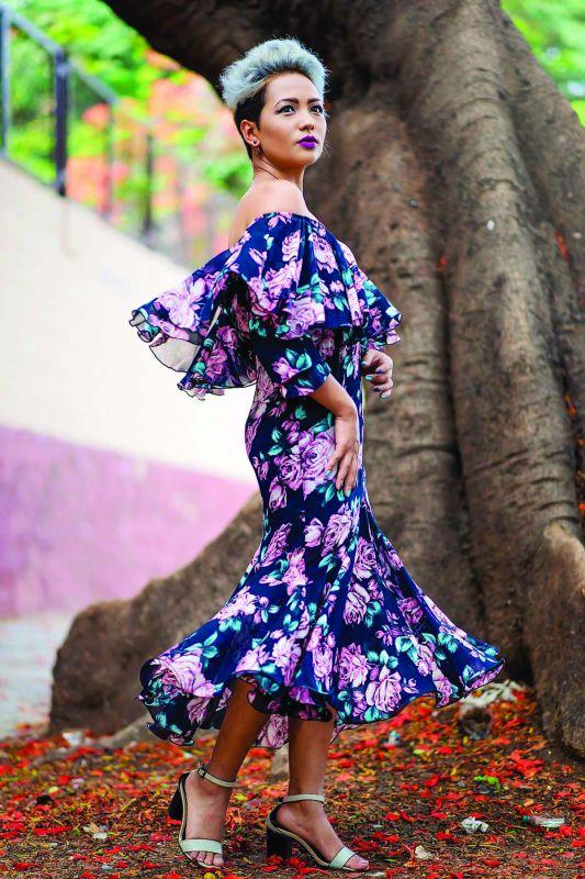 Nilu Thapa's off shoulder dress highlights the season's trends.