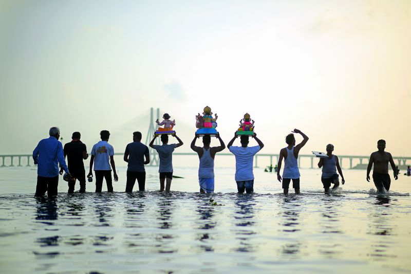 A group of families and friends during Ganpati visarjan in Girgoan Chowpatty in Mumbai