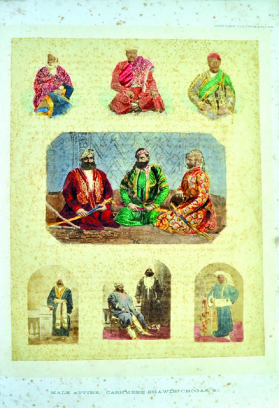 Plate 7. Male Attires Cashmere Shawls Chogas, & c. 'The Textile Manufactures and Costumes of the People of India' by Dr. John Forbes Watson. Published by the India Office: London. 1867.