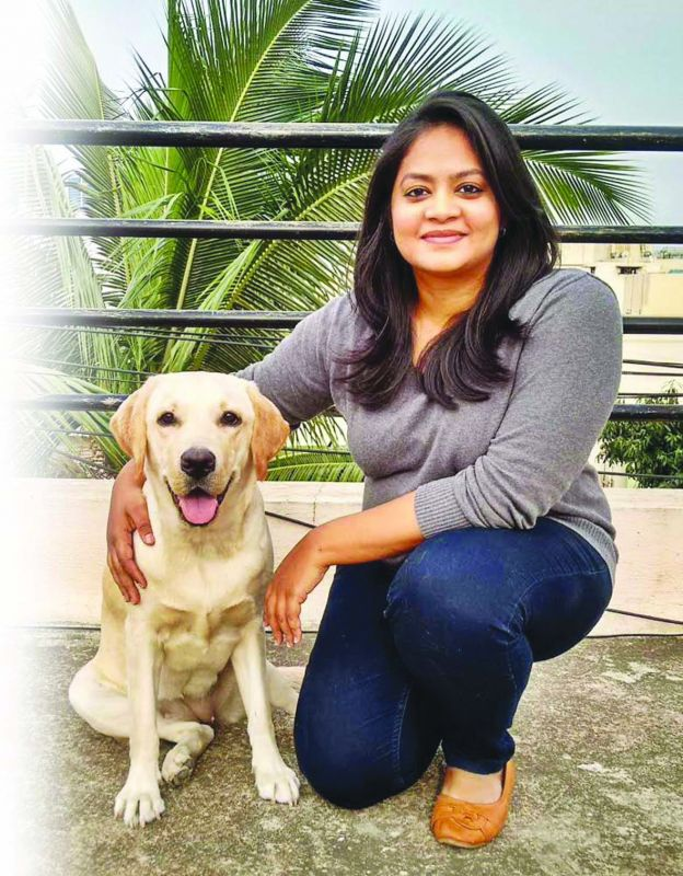 Three year-old Labrador Phoebe with Nivedita Jithin