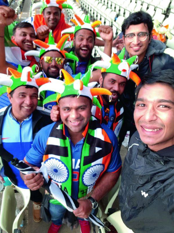 Anush and Sriram; with Indian fans  at Birmingham