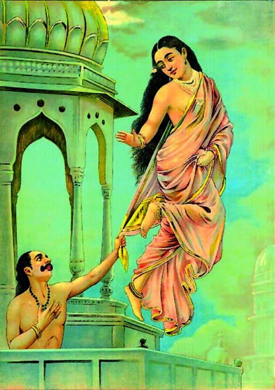 This is a painting of Urvashi leaving Pururava by famous 19th century painter Raja Ravi Varma
