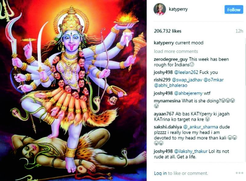 Singer Katy Perry Instagram post, all have hurt religious sentiments of Indians.