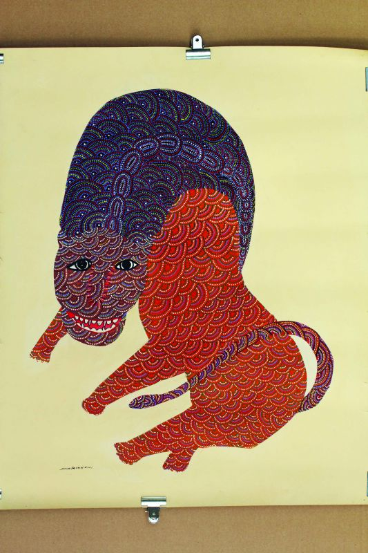 Solo Tiger by Gond artist Jangarh Singh Shyam