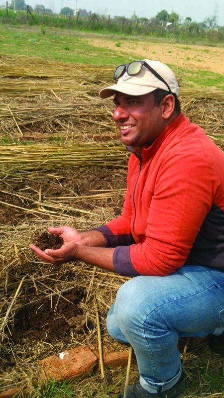 Paras Chopra showing vermicomposting techniques