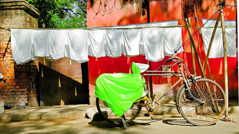 Cycle of a laundry man at Dhobi Ghaat in Delhi