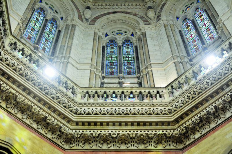 The main dome of the building is replete with beautiful stained glass windows