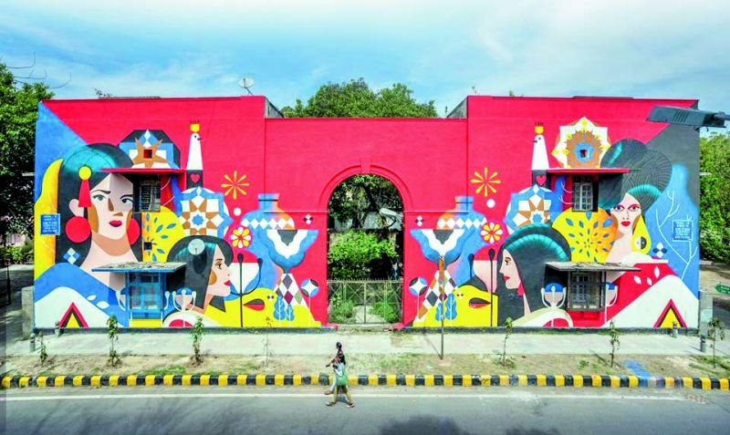 A mural painted as part of St+art India Foundation's 'Lodhi Art Festival 2019'