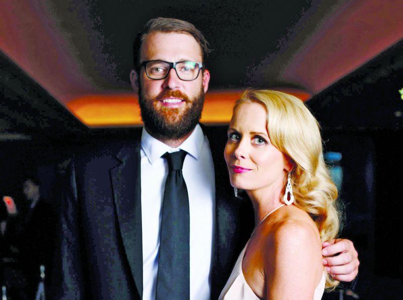 Daniel Vettori with his wife