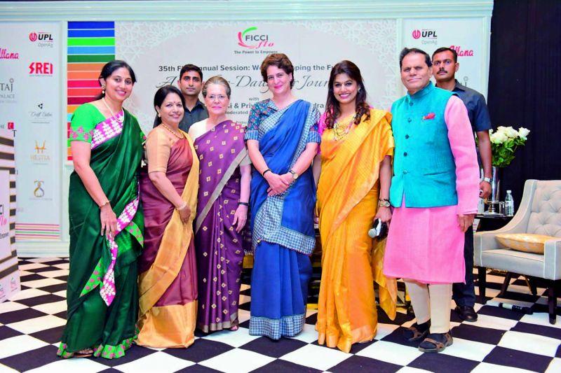 (Left to right) Sarita, Indira Reddy, Sonia Gandhi, Priyanka Gandhi, Pinky and T. Subbarami Reddy.