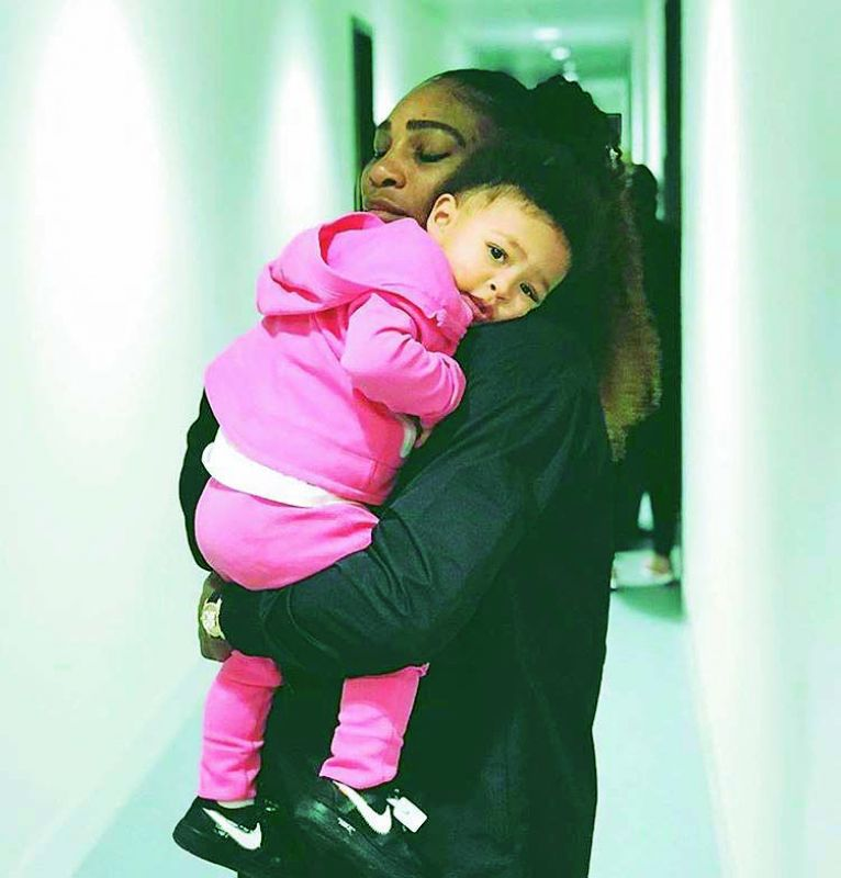 Serena Williams with daughter Alexis Olympia Ohanian Jr.