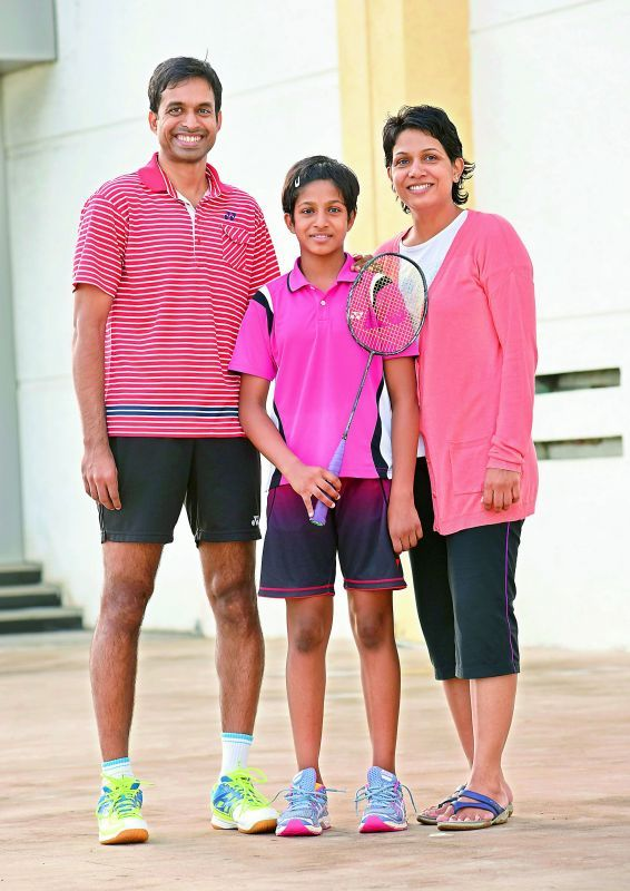 Proud family: Gopichand with daughter Gayatri and wife P.V.V. Lakshmi