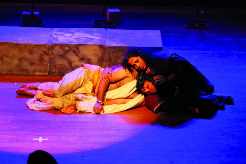 A still from the play Radhey by Rasika Agashe
