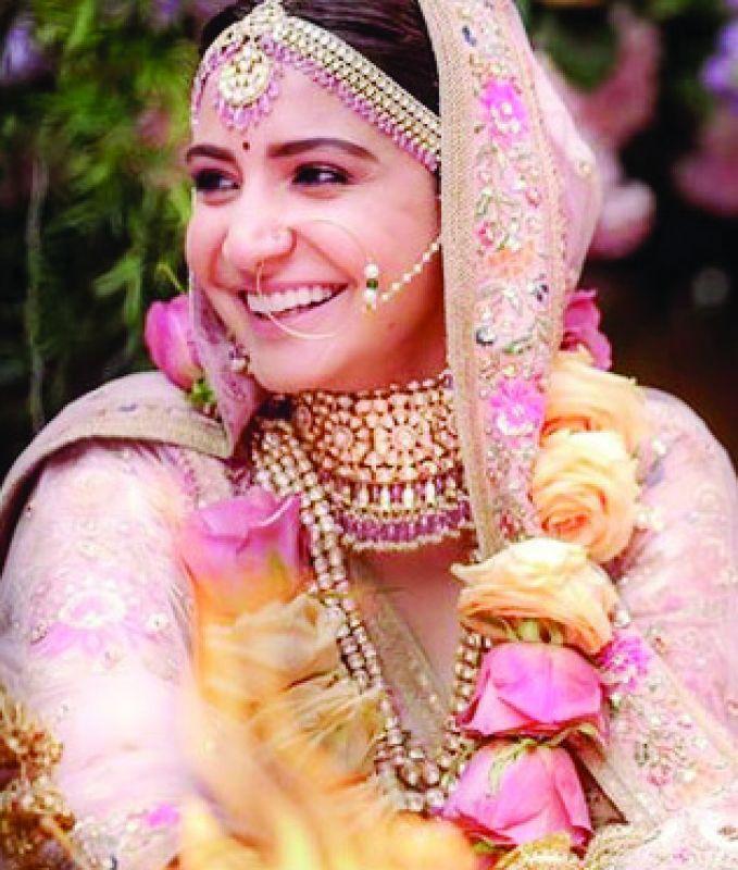 Actress Anushka Sharma sporting Sabyasachi jewellery during her wedding