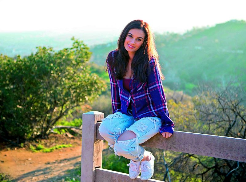 On her recent trip to Los Angeles, actress Evelyn Sharma poses at Griffith Park.