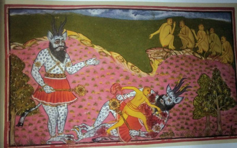 An art work depicting Hanuman and Angada, come across a huge asura (demon), blue and scaly, with horns and a mace. Thinking he is Ravana, Angada knocks him to the ground and disembowels him. Mewar Ramayana, Udaipur, c. 1653