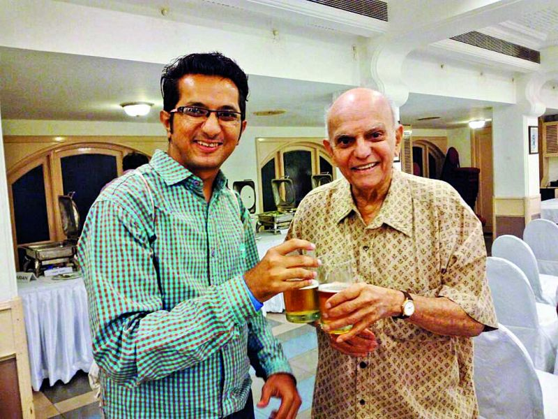 (top) Chirag Doshi rubs shoulders with former cricketer Madhav Apte; (bottom) Tweets from Zaheer Khan and Virat Kohli, praising the movie.
