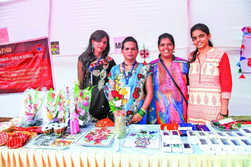 Titli at her flower stall during the first edition of the fair.