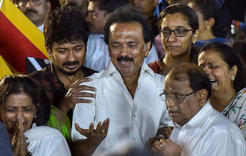 DMK working president MK Stalin with family members during DMK chief M Karunanidhi's funeral ceremony at Anna Memorial, in Chennai. (Photo: PTI)