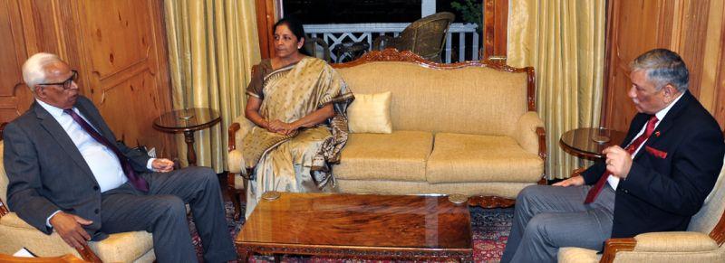 Defence Minister Nirmala Sitharaman meets Jammu and Kashmir Governor N N Vohra. (Photo: DC)