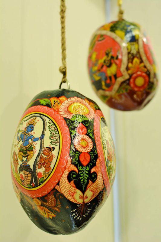 Paintings on coconut shells