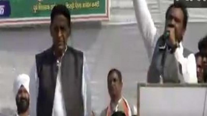 Congress former MLA Surender Kumar on Sunday made a blunder during a public rally by mistakenly stating 'Priyanka Chopra Zindabad