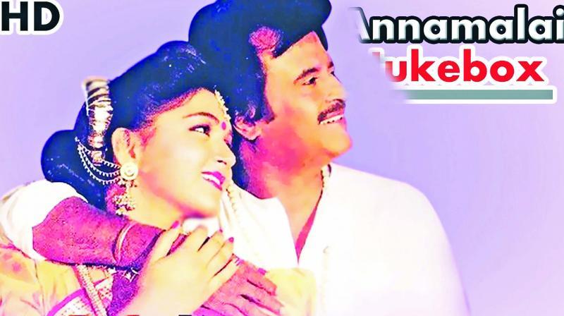 Rajinikanth and Khushboo in 1992 film Annamalai.