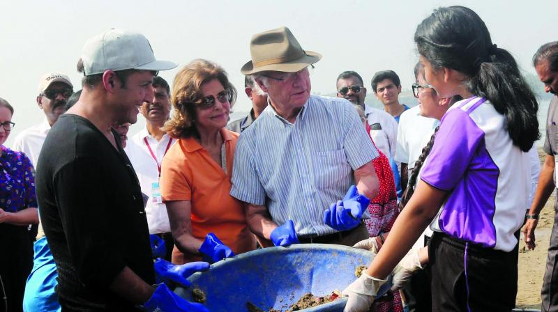 The Swedish royal couple helping the volunteers in cleaning the beach. (Photo: AA)