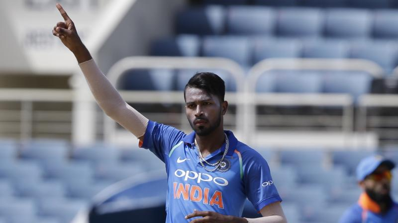 Hardik Pandya got the wicket of Evin Lewis.(Photo: AP)