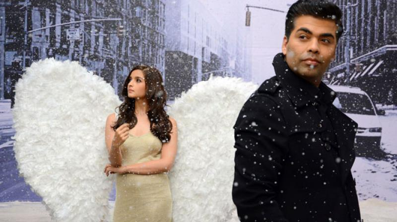 Alia Bhatt in a TV commercial with Karan Johar.