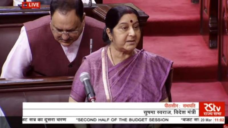 'Deep penetration radar confirmed that all Indians were dead after all bodies were exhumed,' said Sushma Swaraj. (Photo: Screengrab)