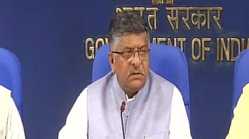 The Minister of Law and Justice, Ravi Shankar Prasad, said the government has been of view that Right to Privacy should be fundamental right. (Photo: Twitter   ANI)