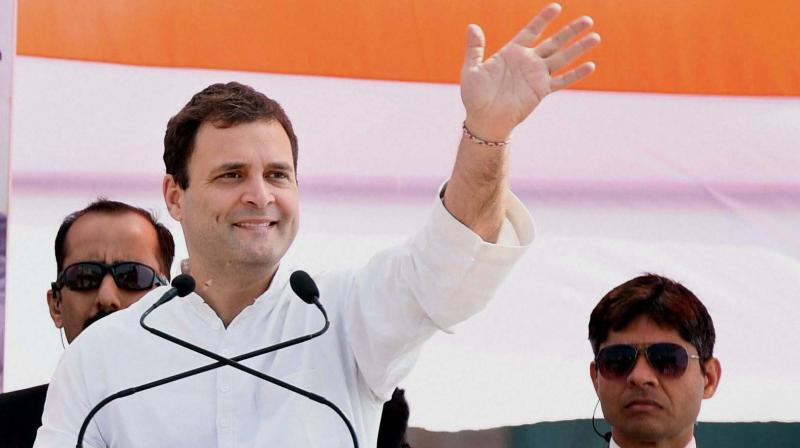 Congress Vice-President Rahul Gandhi addressing an election rally in Aligarh. (Photo: PTI)