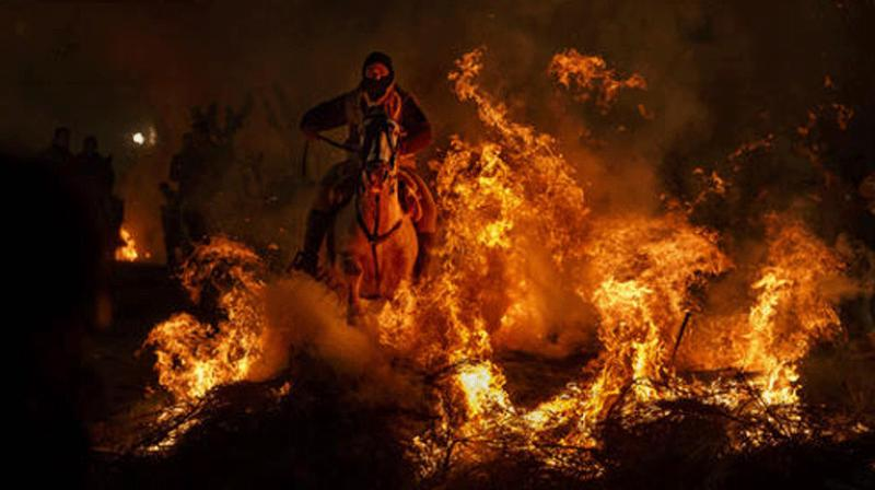 Once every winter, thick smoke begins to swallow up the houses in this village in the barren lands of Avila, northwest of Madrid. It means the town's bonfire festival honoring St. Anthony the Abbot has begun.