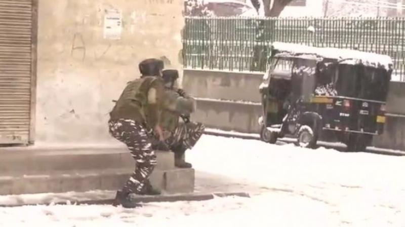 Intermittent exchange of fire was reported and the CRPF moved in more troops to ensure that the militants do not escape. (Photo: ANI/Twitter)