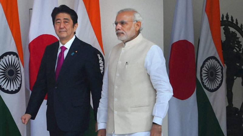 Prime Minister Narendra Modi with his Japanese counterpart Shinzo Abe in New Delhi (Photo: PTI/File)