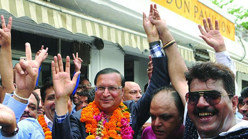 DDCA newly elected president Rajat Sharma (centre) with supporters in New Delhi on Monday. (Photo: Biplap Banerjee)