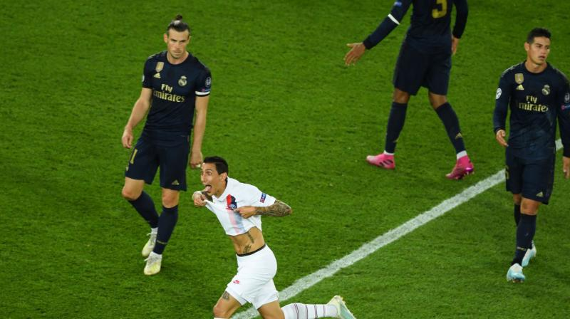 Angel Di Maria scored twice in a vintage performance to help Paris Saint-Germain outclass Real Madrid 3-0 in their opening Champions League Group A game on Wednesday. (Photo:AFP)