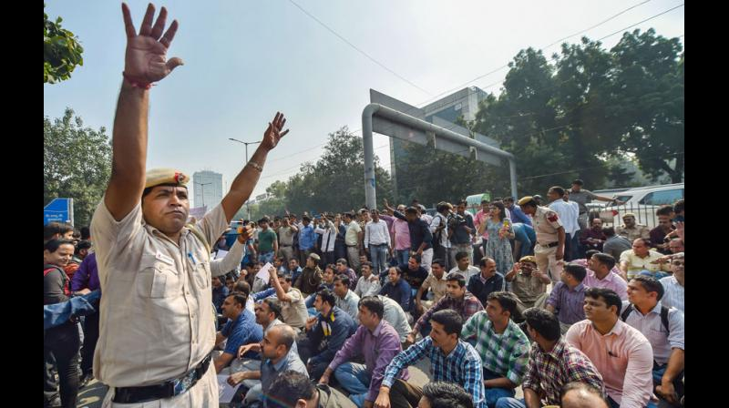 The protests in which families of the personnel also took to streets were withdrawn in the night after an assurance by senior officers that their grievances will be addressed. (Photo: PTI)