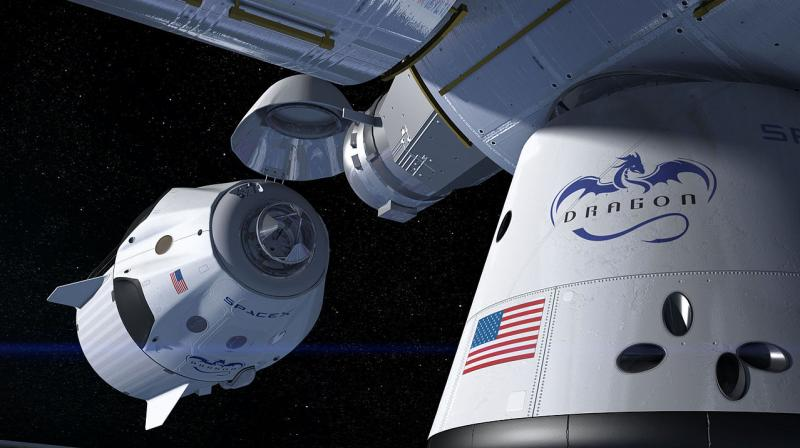 This artist's concept shows a SpaceX Crew Dragon docking with the International Space Station as it will during a mission for NASA's Commercial Crew Program. (Photo | Wikimedia Commons)
