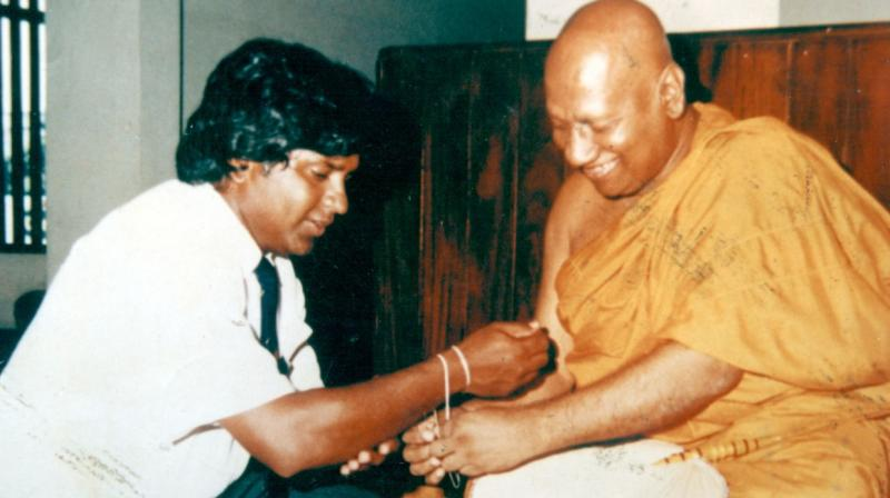 Arjuna Ranatunga, who was also blessed by a monk has remained the only Sri Lankan captain to have won the World Cup in 1996. (Photo: SLC)