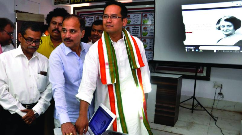 West Bengal AICC in-charge Gaurav Gogoi launches West Bengal Pradesh Congress Committee's website on Monday. State party president Adhir Ranjan Chowdhury and Congress MP Abhijit Mukherjee are also seen. (Photo:Abhijit Mukherjee)