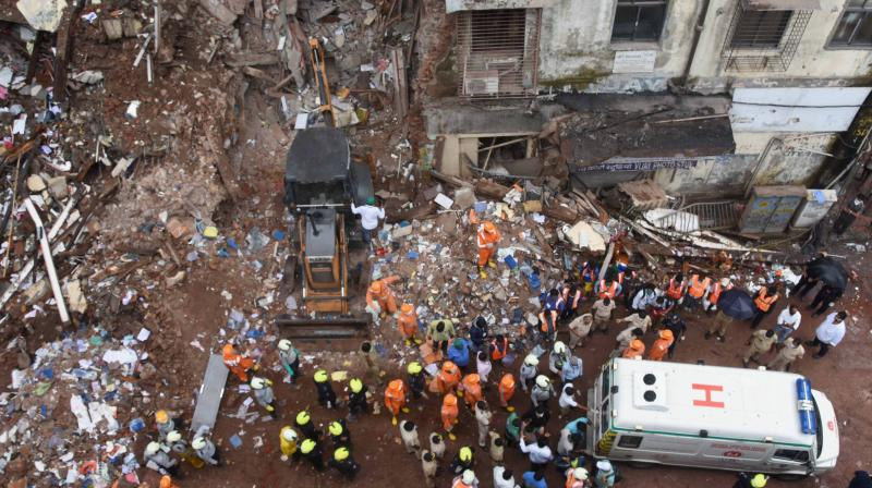 Rescue operations at the site of the building collapse. (PTI)