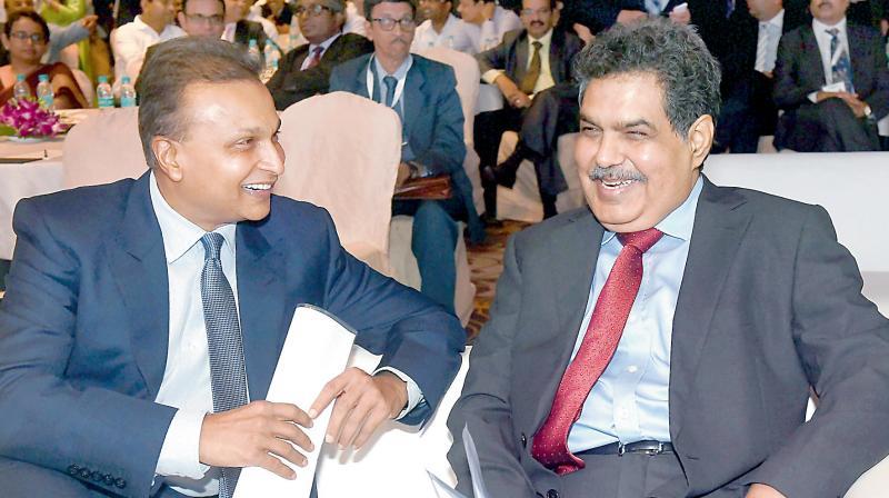 Reliance Group (ADAG) chairman Anil Ambani and SEBI chairman Ajay Tyagi in Mumbai. (Photo: PTI)