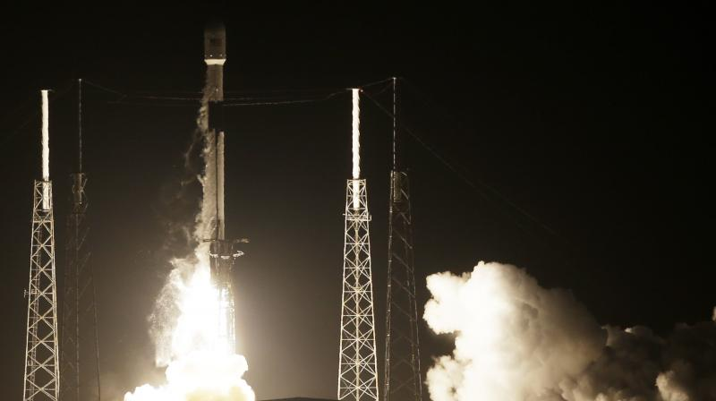"The unmanned robotic lander dubbed Beresheet - Hebrew for the biblical phrase ""in the beginning"" - soared into space from the Cape Canaveral Air Force Station at about 8:45 p.m. EST (0145 GMT Friday) atop the 23-story-tall rocket. (Photo: AP)"