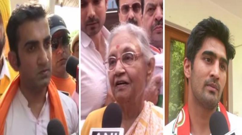 Gautam Gambhir,Sheila Dikshit and Vijender Singh, (Photo: ANI)