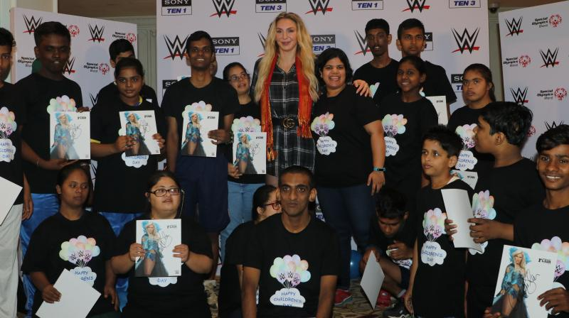 10-time WWE Women's Champion Charlotte Flair celebrates Children's Day with the children from Special Olympics Bharat this morning, as part of her India tour.