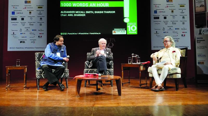 (From L to R): Shashi Tharoor, Alexander McCall Smith and Anil Dharker